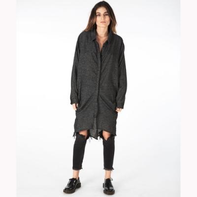 ONETEASPOON SHIRT DRESS黑 寬鬆長版襯衫-女