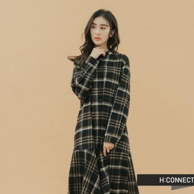 H:CONNECT 韓國品牌 女裝-格紋排釦魚尾洋裝-黑