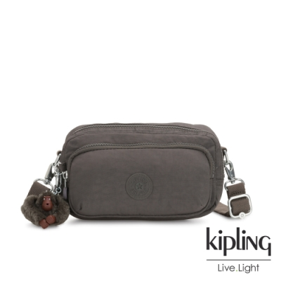 Kipling 極簡深卡其灰色雙拉鍊方形側背腰包-AKPA
