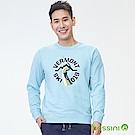 bossini男裝-印花厚棉運動衫10淡藍