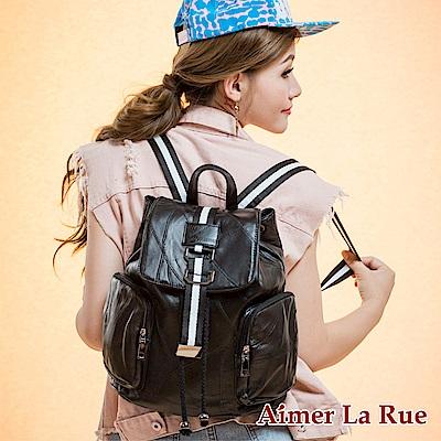 Aimer La Rue 桑尼布萊克羊皮後背包-黑色(快)