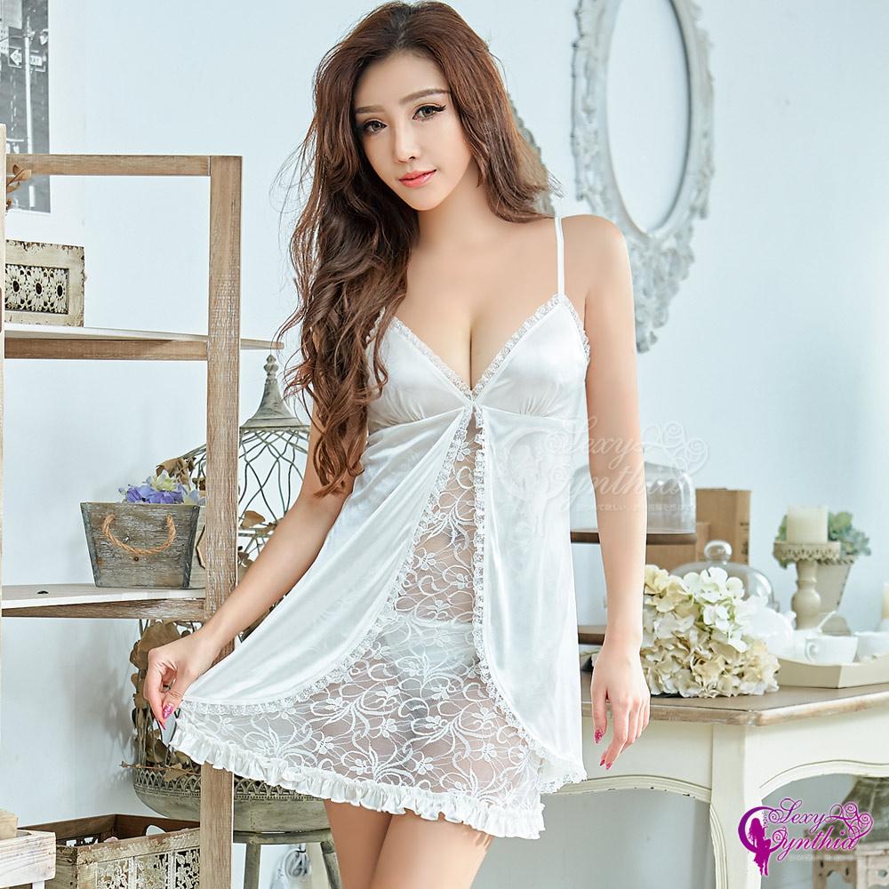 Sexy Cynthia性感睡衣 優雅純白蕾絲柔緞二件式睡衣-白F