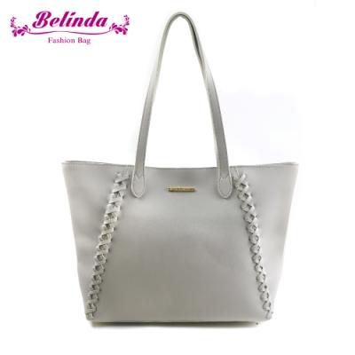 【Belinda】喬安娜素面鎖縫設計手提肩背包(灰色)