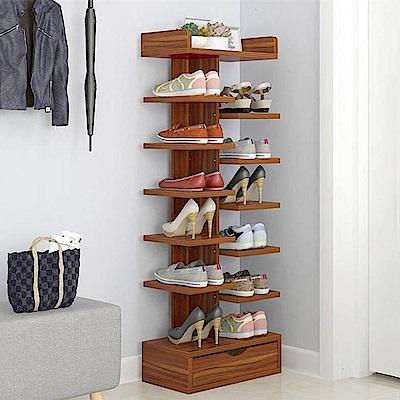 日式創新多層收納木架鞋櫃/雙邊7層(帶抽屜)