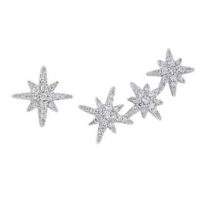 apm MONACO法國精品珠寶 璀璨鑲鋯繁星不對稱銀色耳環