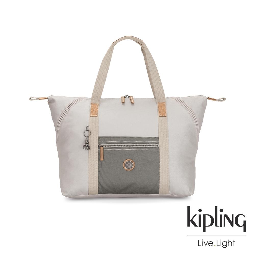 Kipling 低調皮革金屬亮銀灰手提側背包-ART M