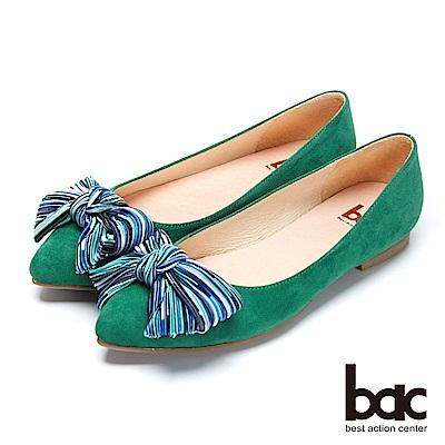 bac都會新秀 - 尖頭彩色織帶裝飾平底包鞋