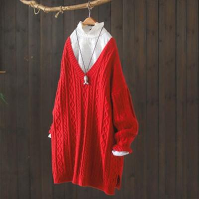 素色菱格麻花紋V領毛衣寬鬆外穿加厚中長版針織衫-設計所在