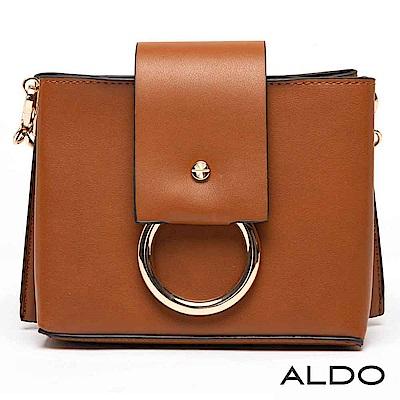 ALDO 原色金屬圓環寬版手提肩背兩用包~內斂焦糖