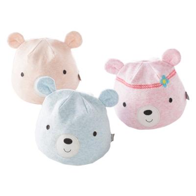 colorland【3入】新生兒帽子 素色立體耳朵造型帽 胎帽