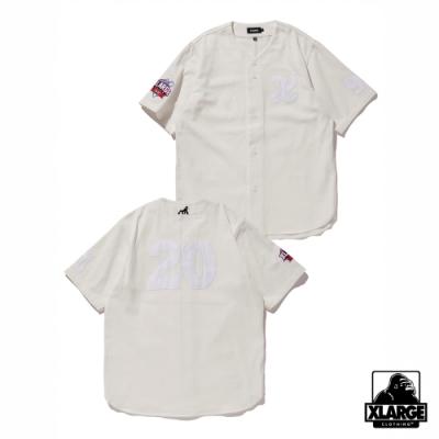 XLARGE BASEBALL SHIRT刺繡棒球襯衫-白