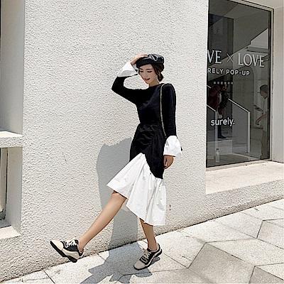 DABI 韓系氣質拼接撞色不規則抽褶系帶長袖洋裝