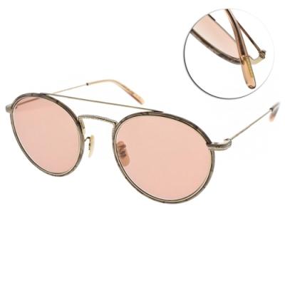 OLIVER PEOPLES太陽眼鏡  復古雕花款/珍珠金-粉#ELLCE 5035P0