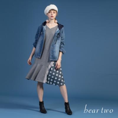 bear two-點點造型異材質拼接洋裝-灰