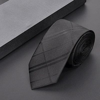 拉福   亂波交叉紋窄版手打領帶 (黑色)