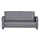 綠活居 雷夫時尚灰亞麻布紋皮革三人座沙發椅-180x76x81cm免組