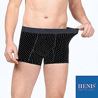 HENIS 熟男時尚 立體大空間 彈性貼身四角內褲 (圓點黑)