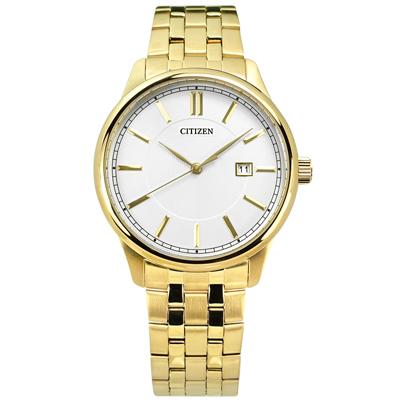 CITIZEN 礦石強化玻璃日期手錶(BI1052-51A)-銀白x鍍金/40mm
