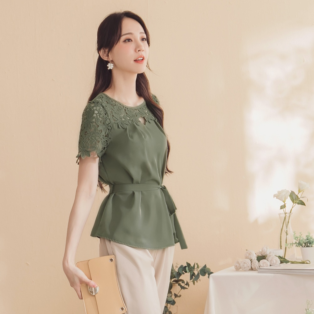 韓系鏤空蕾絲雕花雪紡上衣-附綁帶-OB嚴選