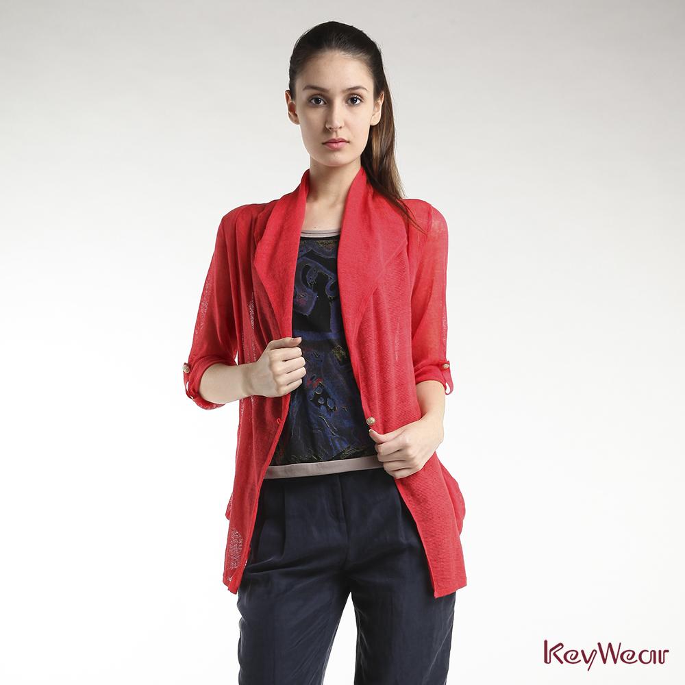 KeyWear奇威名品    透視不對稱七分袖針織外套-橘紅色