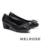高跟鞋 MELROSE 沉穩典雅V字造型釦牛皮方頭粗高跟鞋-黑