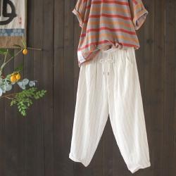 復古棉麻條紋百搭薄九分哈倫褲子二色-設計所在