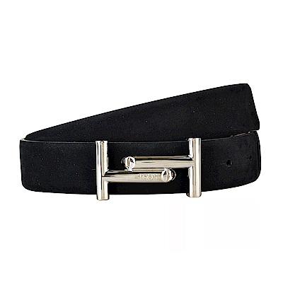 TOD'S經典雙T LOGO麂皮銀扣式皮帶(黑)