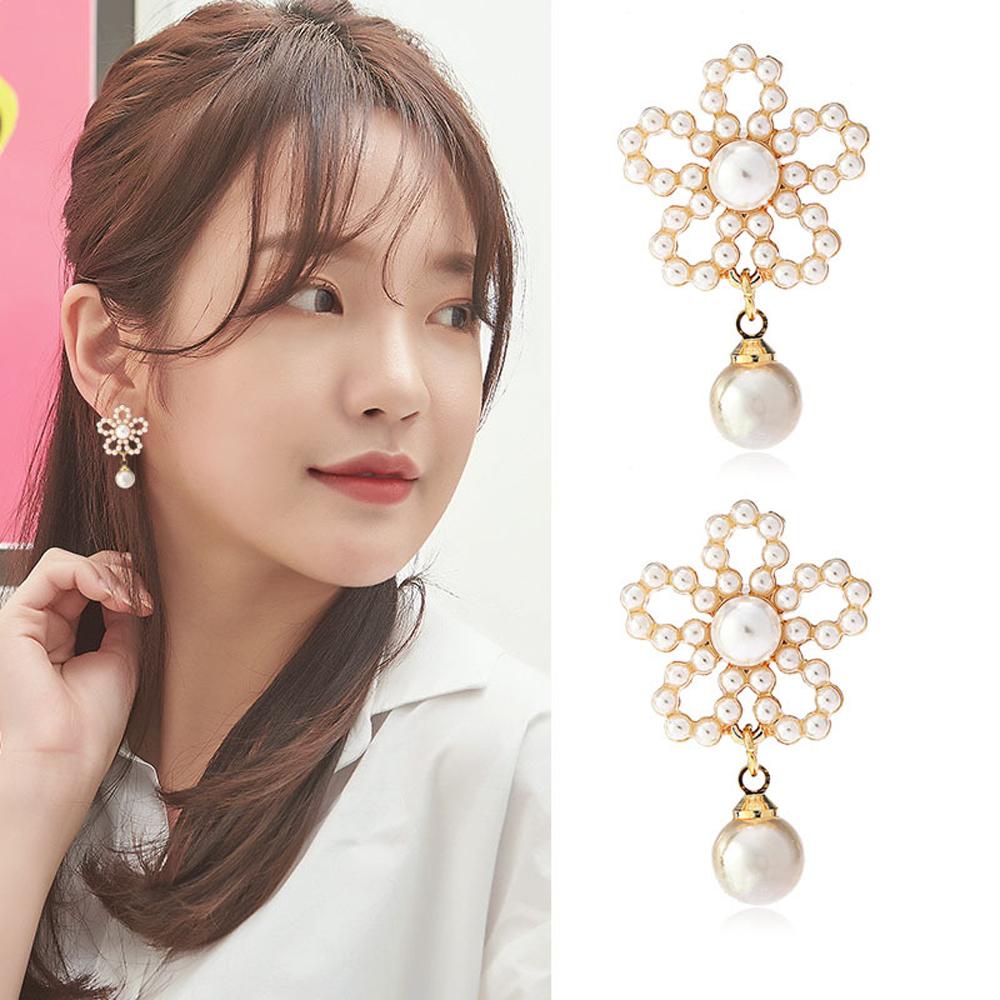 梨花HaNA 無耳洞韓國珍珠花朵溫柔氛圍耳環夾式