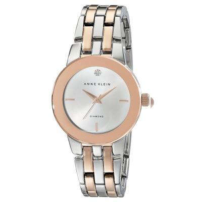 Anne Klein 永恆鑽眼雙色鏈帶腕錶-銀x30mm