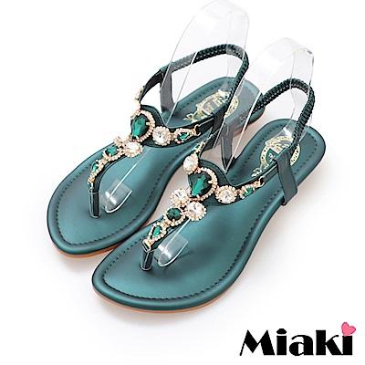 Miaki-涼鞋華麗時尚楔型涼鞋-綠色