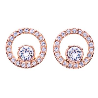 SWAROVSKI施華洛世奇 Circle 玫瑰金水晶穿孔耳環