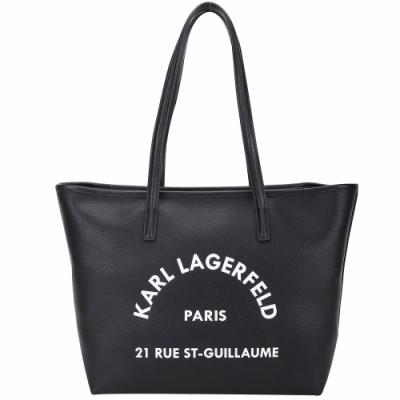 KARL LAGERFELD Rue St Guillaume 住址系列牛皮手提/肩背托特包(黑色)