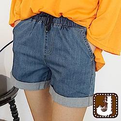 正韓 折管抽繩綁帶丹寧短褲-(藍色)100%Korea Jeans