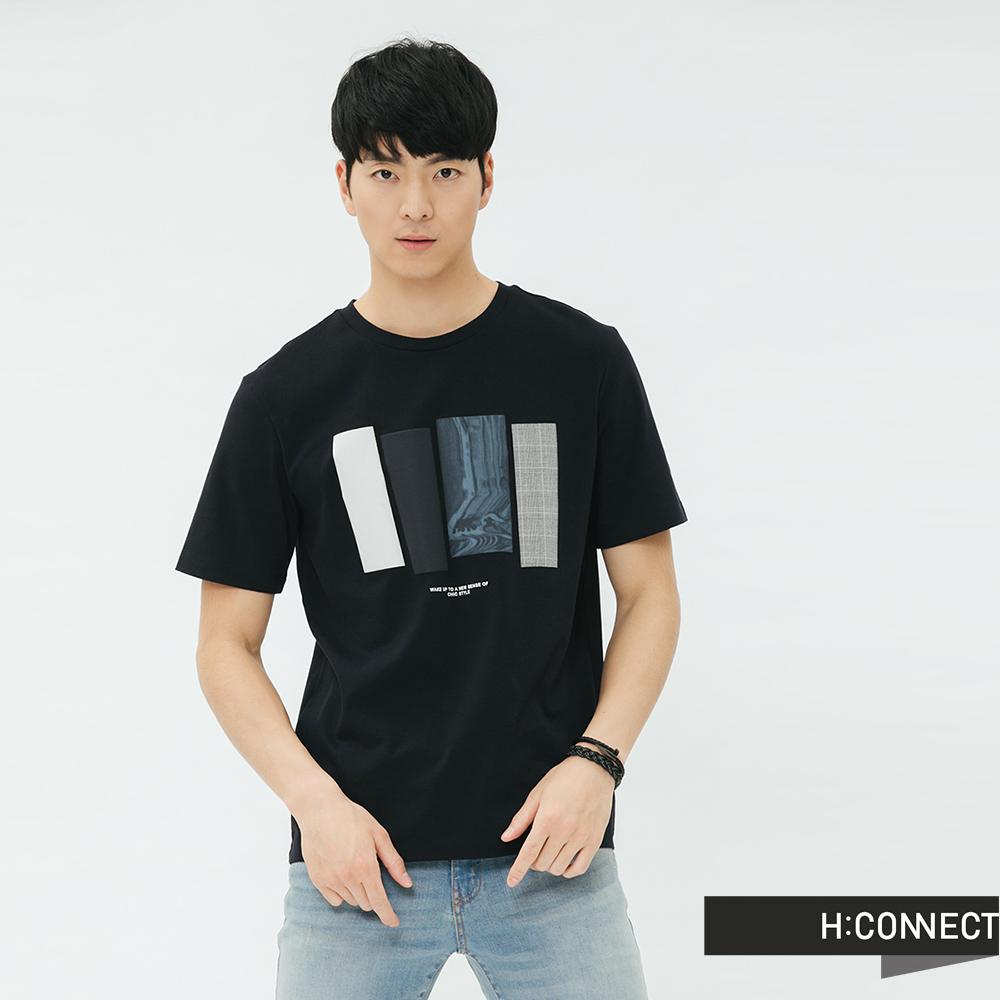 H:CONNECT 韓國品牌 男裝-色塊造型圓領T-shirt-藍