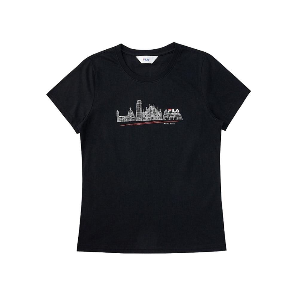 FILA 女短袖圓領T恤-黑色 5TEV-1522-BK