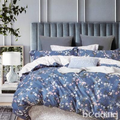 BEDDING-100%棉特大雙人6x7尺薄式床包-晨曦花語-藍