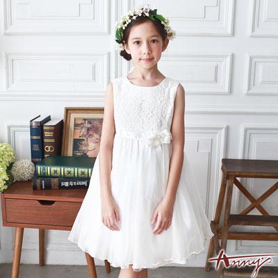 Annys典禮天使蕾絲拼接高級緞質玫瑰禮服*7101白
