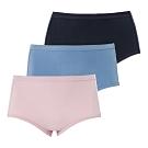 蕾黛絲-精梳棉褲三件包高腰內褲 M-EQ 可可/灰綠/深藍