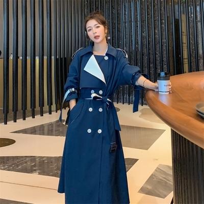 米蘭精品 風衣大衣長版外套-翻領撞色雙排扣繫帶女外套2色73yt39