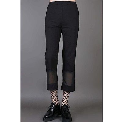 直筒褲下角拼雪紡顯瘦八分西裝褲休閒褲-設計所在 MP1709