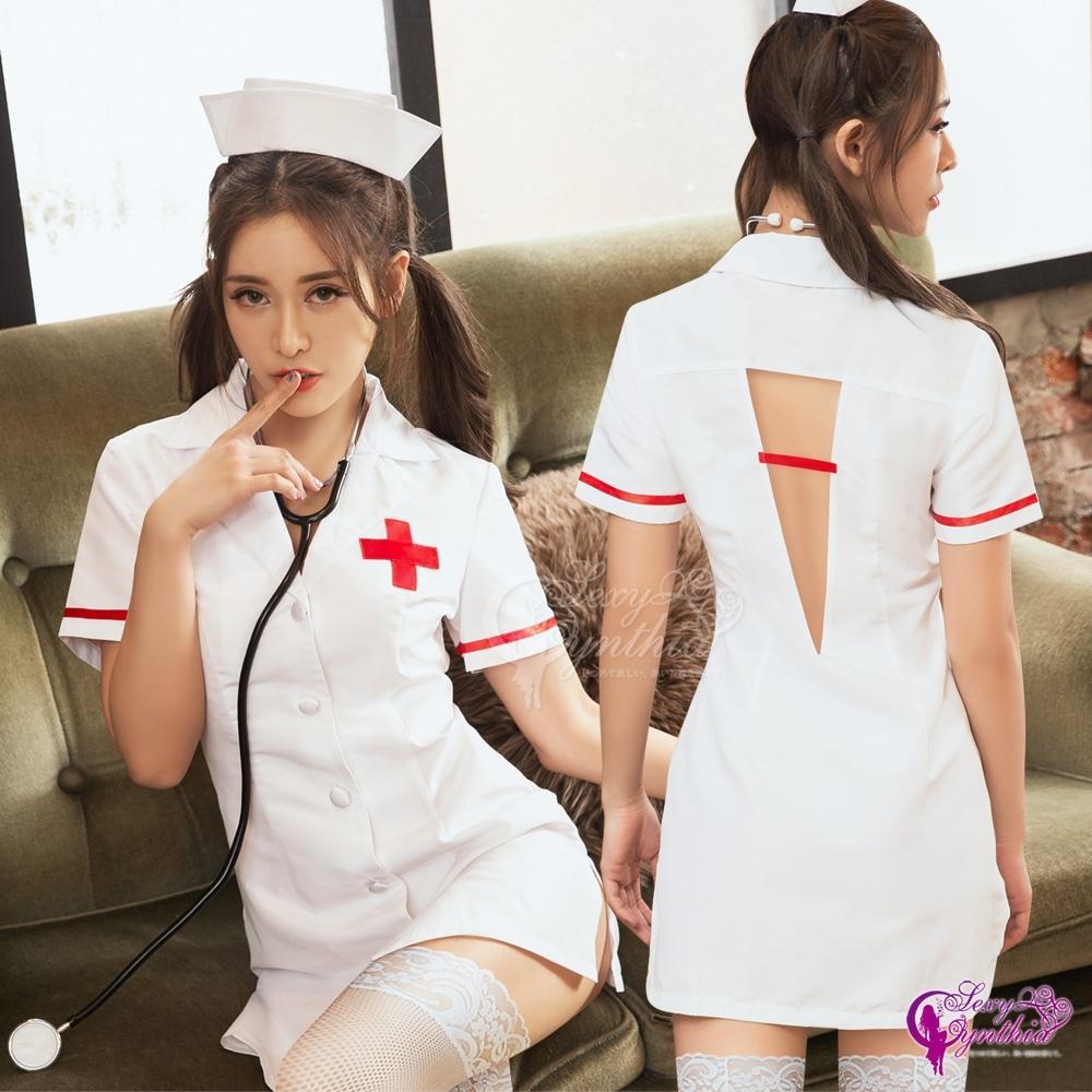 Sexy Cynthia 角色扮演 純白挖背開扣式三件式護士連身裙角色服-白F