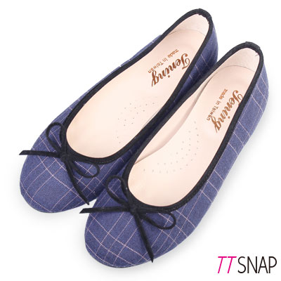 TTSNAP娃娃鞋-MIT英倫格紋蝴蝶結平底鞋 藍