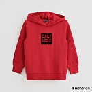 Hang Ten -童裝 - 純色LOGO印花連帽長袖上衣 - 紅