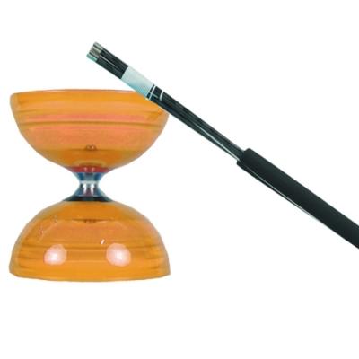 三鈴SUNDIA-台灣製造-炫風長軸三培鈴扯鈴(附35cm大碳棍、扯鈴專用繩)橘色