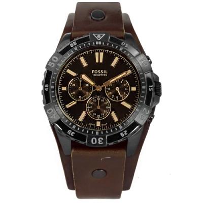 FOSSIL / FS5626 / Garrett 三眼計時 真皮手錶-黑框x褐/44mm