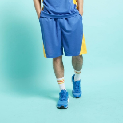 【FIVE UP】男款撞色剪接吸濕排汗籃球褲-中藍