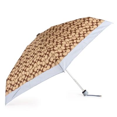 COACH 經典滿版C LOGO 晴雨傘-咖啡/灰