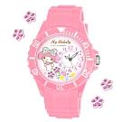 Sanrio三麗鷗偏機芯貼鑽系列運動彩帶錶-My Melody美樂蒂40mm粉紅色