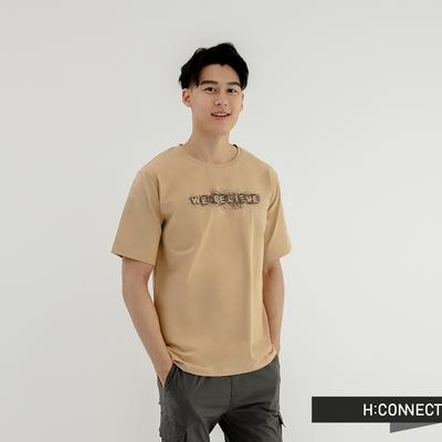 H:CONNECT 韓國品牌 男裝-We Believe 點描圖印T恤-卡其