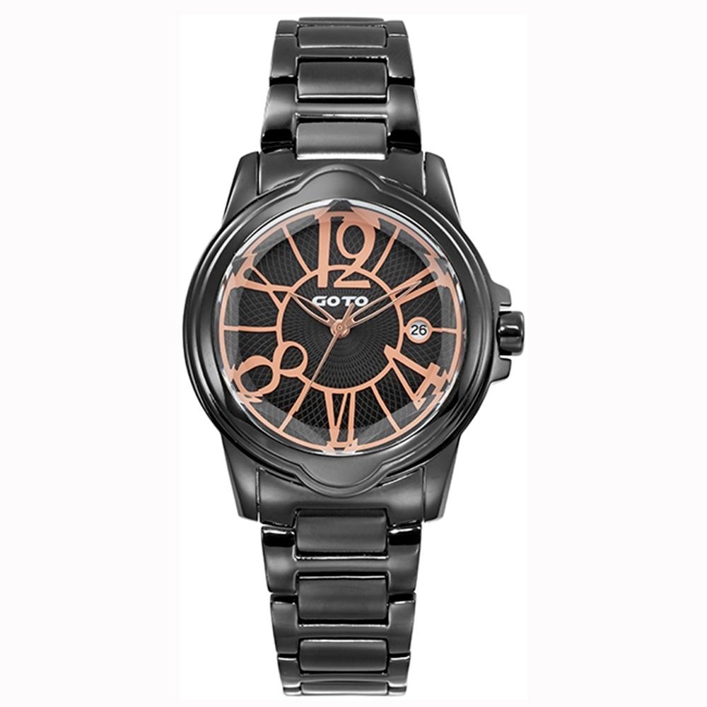 GOTO 個性歌德時尚手錶-IP黑/39mm